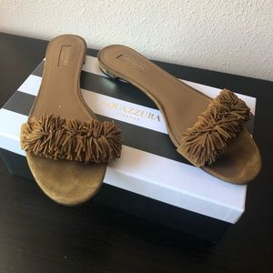 Aquazzura Wild Thing Brown Suede flats 9.5